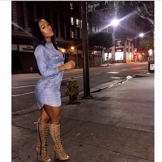 denim shirt shirt dress lace up boots