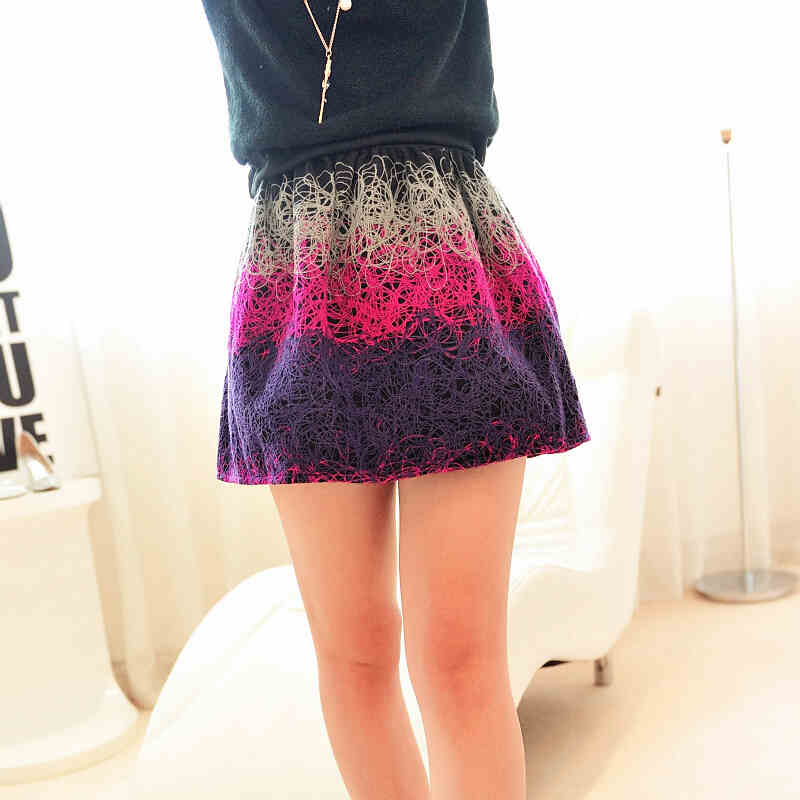 Color Stitching A-Line Mini Skirt [DLN0034] - PersunMall.com