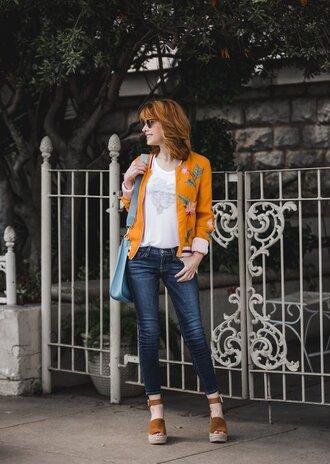 themiddlepage blogger jacket t-shirt shoes bag jewels sunglasses blue bag sandals wedges spring outfits