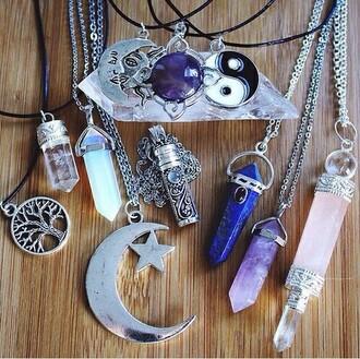 jewels necklace moon yin yang stone necklaces grunge soft grunge pastel grunge choker necklace crystal quartz quartz pastel goth crystal gemstone pale