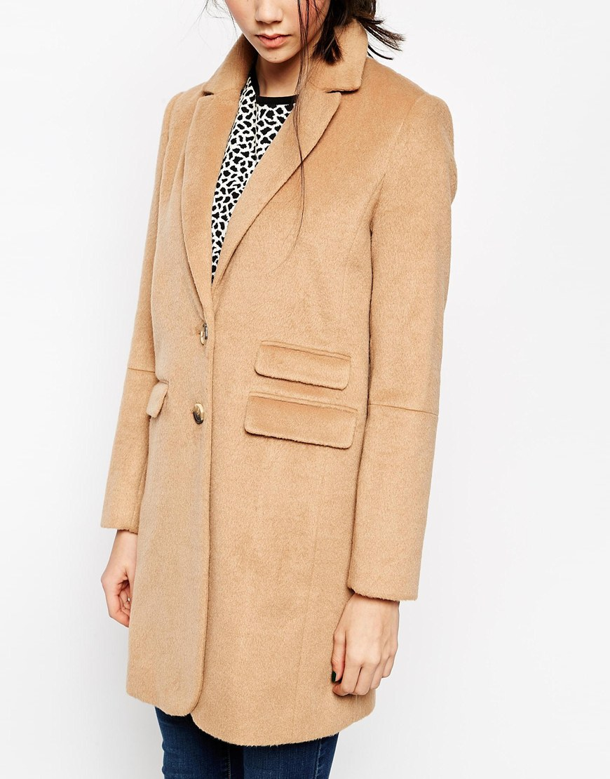 Asos coat with curved collar and seam detail at asos.com
