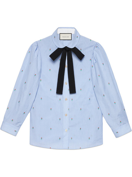 gucci shirt rose women cotton blue top