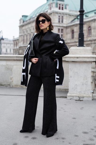 viennawedekind blogger jacket top scarf pants bag jewels shoes blazer black blazer black pants tumblr wide-leg pants glitter pants disco pants all black everything sunglasses