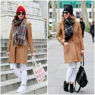 my style pill blogger sweater hat sunglasses scarf jacket shoes bag make-up coat