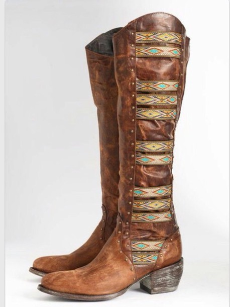 shoes brown shoes country boots boots fashion style gypsy bohemian boho chic aztec shoes cowboy boots cowgirl boots hippie brown shoes leather