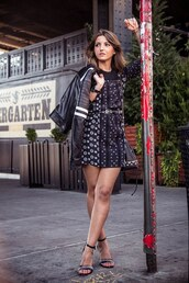 dress,winter date night outfit,date outfit,tumblr,mini dress,printed dress,long sleeves,long sleeve dress,sandals,sandal heels,high heel sandals,black leather jacket,leather jacket,black jacket,jacket,lovely pepa,blogger