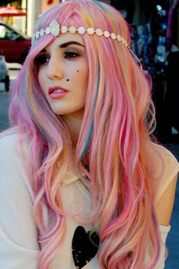 Sweater Rainbow Pastel Hair Cute Beige Light Blue