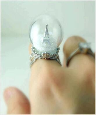 jewels ring paris snow globe