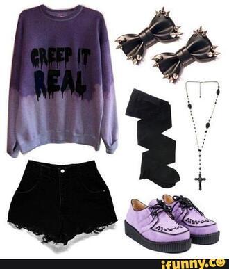 top purple purple sweater pastel goth grunge grunge sweater