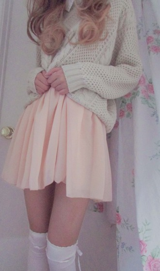 sheer pink pink sheer pink skirt skirt flowy baby pink pastel pastel pink dress cute socks white sweater ivory collar kawaii knitwear girly fall outfits
