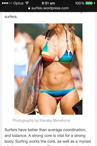 swimwear rainbow bikini stripes surf summer sports