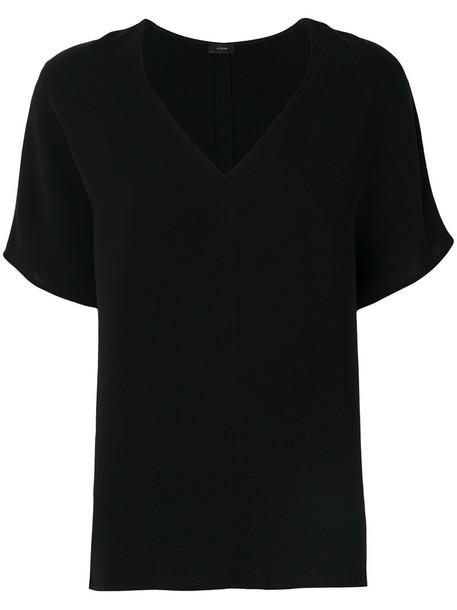 t-shirt shirt t-shirt women classic black silk top