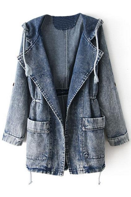 Fading hooded denim coat, the latest street fashion
