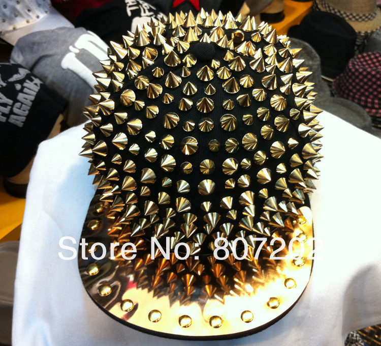 high quality Bigbang personality  jazz hat baseball cap Men/ Women Spike Studs Rivet Cap Hat Punk style Rock Hiphop  For Pick-inBaseball Caps from Apparel & Accessories on Aliexpress.com