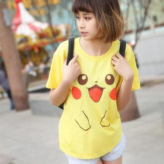 t-shirt harajuku japanese japanese fashion pikachu pokemon pikachu