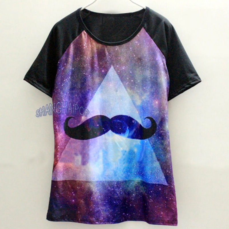 Galaxy Space Cosmic Mustache T Shirt Women Short Sleeve Graphic Hip Hop Tee Top | eBay