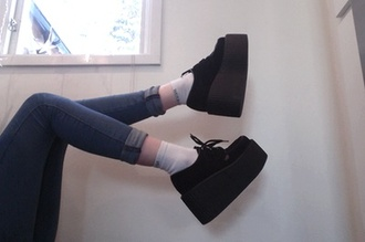 shoes creepers black platform shoes