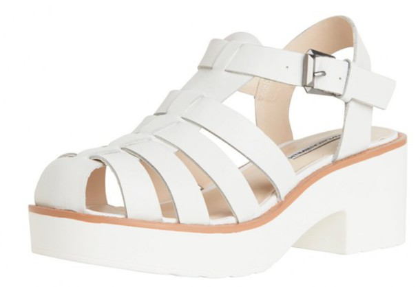 shoes white sandal heels sandals chunky sole chunky heels