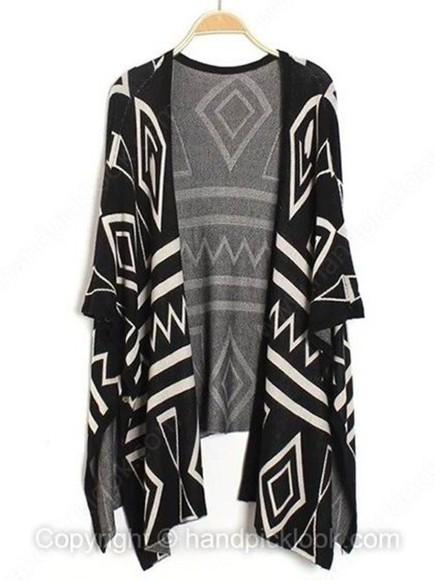 cardigan geometric geometric print geometric cardigan black and white black and white cardigan