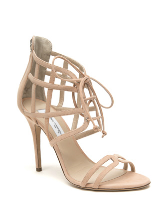 Monique Lhuillier Dahlia Suede Caged Lace Up Sandal  in Nude - Avenue K