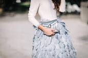 skirt,tumblr,grey skirt,high waisted skirt,feather skirt,feathers,bag,silver bag,top,white top,bvlgari serpenti bag,bulgari serpenti bag