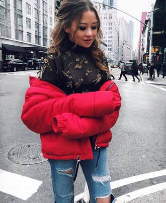 jacket tumblr red jacket puffer jacket top black top see through see through top embroidered jeans denim blue jeans ripped jeans light blue boyfriend jeans black sheer top red puffer jacket blogger
