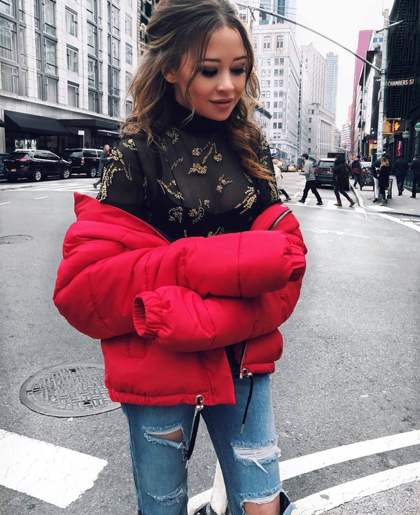 Jacket Tumblr Red Jacket Puffer Jacket Top Black Top