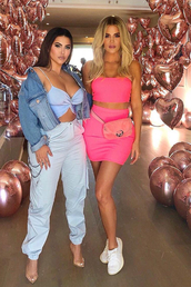 top,two-piece,khloe kardashian,kardashians,pink,crop tops,mini skirt