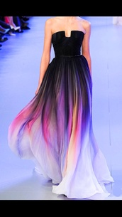 dress,multicolor dress with black top,clothes,colorful,long dress,flowy dress,sleeveless dress,black,runway,fashion,ombre dress,floaty,color/pattern,rainbow,multicolor,prom dress,prom,strapless,flowy,pink dress,purple dress,blue dress,strapless dress,style,ombre,purple,prom gown,black dress,elie saab,cute dress,sunrise,sunset,colorful dress,elie sabb,jacket,black ombre dress,ruway dress,lilly collins dress,ellie saab,ombe maxi dress,sunset color dress,maxi dress