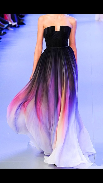 dress strapless dress prom dress prom gown black runway fashion pink dress purple dress blue dress style ombre purple prom color/pattern black dress elie saab floaty rainbow multicolor colorful long dress flowy dress sleeveless dress ombre dress