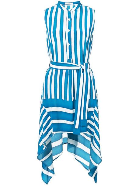 dress striped dress women blue silk