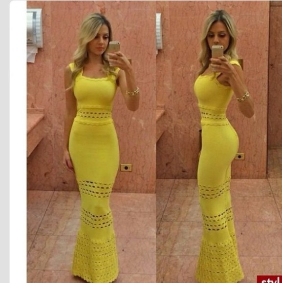 dress knit dress yellow dress yellow maxi dress