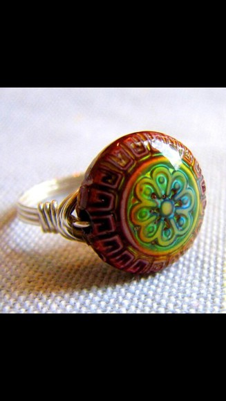 boho hippie jewels ring mood ring color