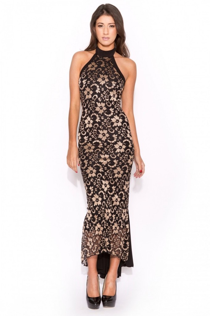 Gold Lace/Black Halter Fishtail Dress