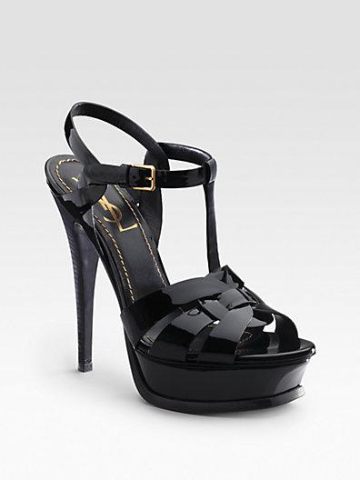 Saint Laurent - Tribute Patent Leather Platform Sandals - Saks.com