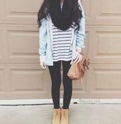 coat,light blue sweater,t-shirt,stripped t shirt,black leggings,black scarf,denim jacket,brown boots,shoes