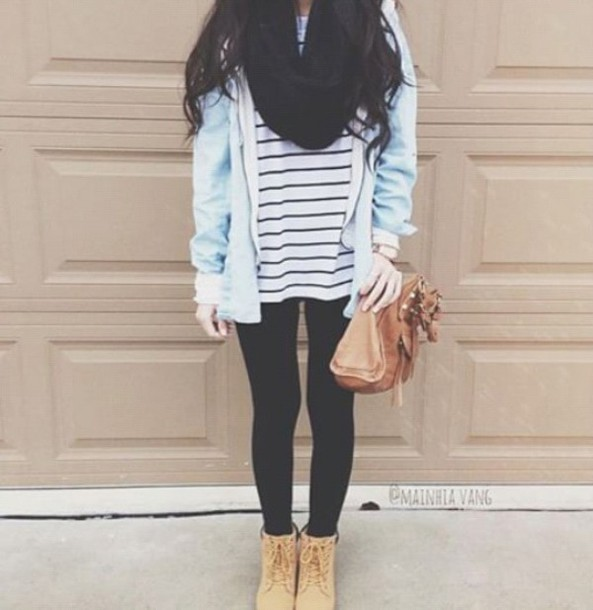 coat light blue sweater t-shirt stripped t shirt black leggings black scarf denim jacket brown boots shoes