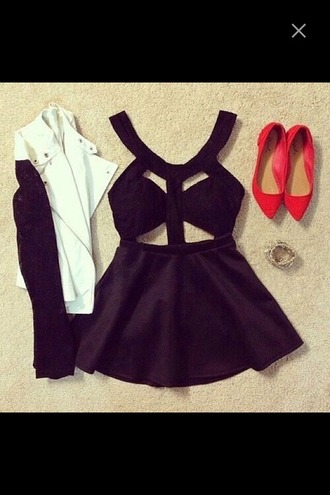 dress pa black and white jacket blazer flats pointed toe cutout cut-out dress short dress mini dress formal dress formal party party dress evening dress fancytreehouse luxury cute girly city outfits outfit ootd birthday dress