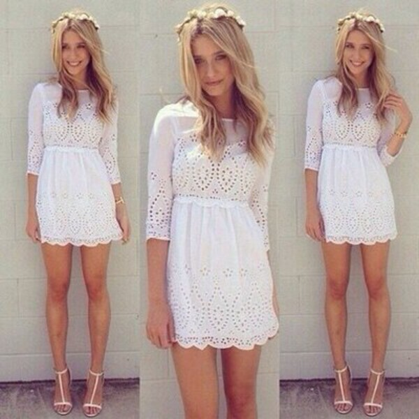 dress dress lace white hollow dress