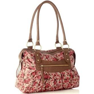 bag accessories floral shoulder bag summer cute fashion zip pink flowers print white green