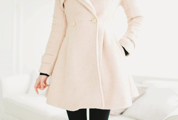 coat cream korean fashion