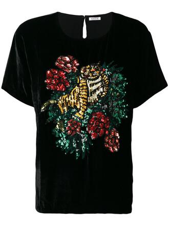 t-shirt shirt women tiger black silk top
