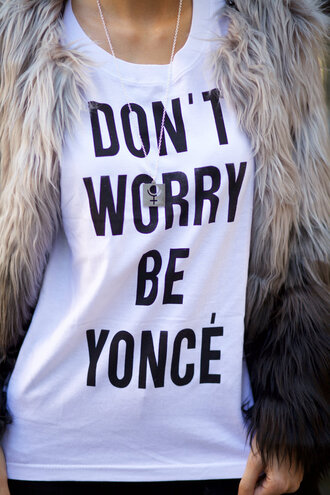 shirt fashion post thursday outfit thursday tbt 2016 outfit idea fashion lifestyle streetwear streetstyle graphic tee quote on it funny quote shirt chic boho chic necklace statement necklace faux fur faux fur vest dont worry spring outfits spring break top blogger lifestyle on point clothing funny t-shirt