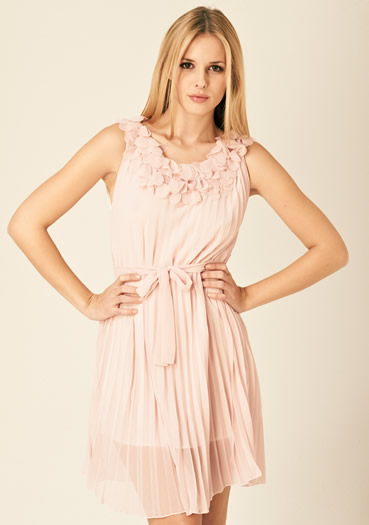 Pink rumer pleated dress at fashion union