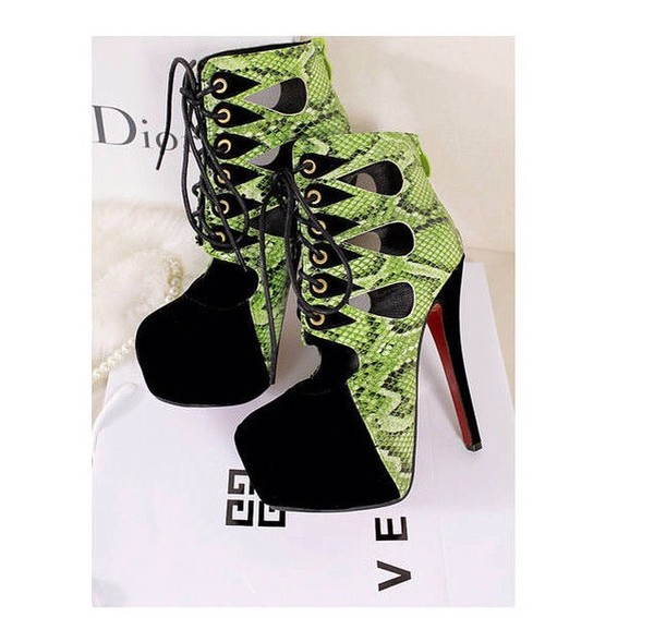 shoes green snake skin pumps platform heels high ankle boots heels