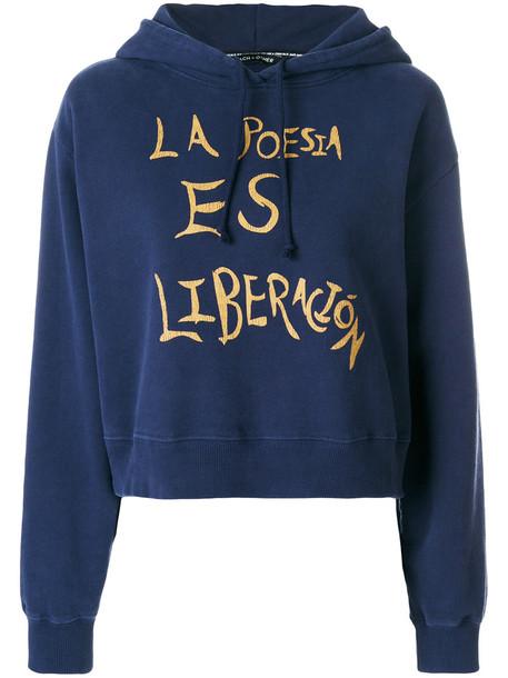 Each X Other - La poesia es liberacion hoodie - women - Cotton - M, Blue, Cotton