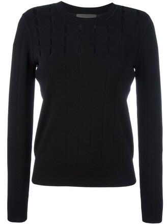 top knitted top open women black