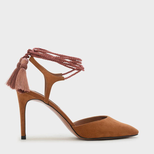 heels lace camel shoes