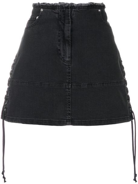 McQ Alexander McQueen skirt mini skirt denim mini women spandex lace cotton grey