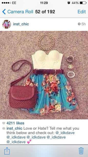 skirt turquoise floral skater skirt underwear